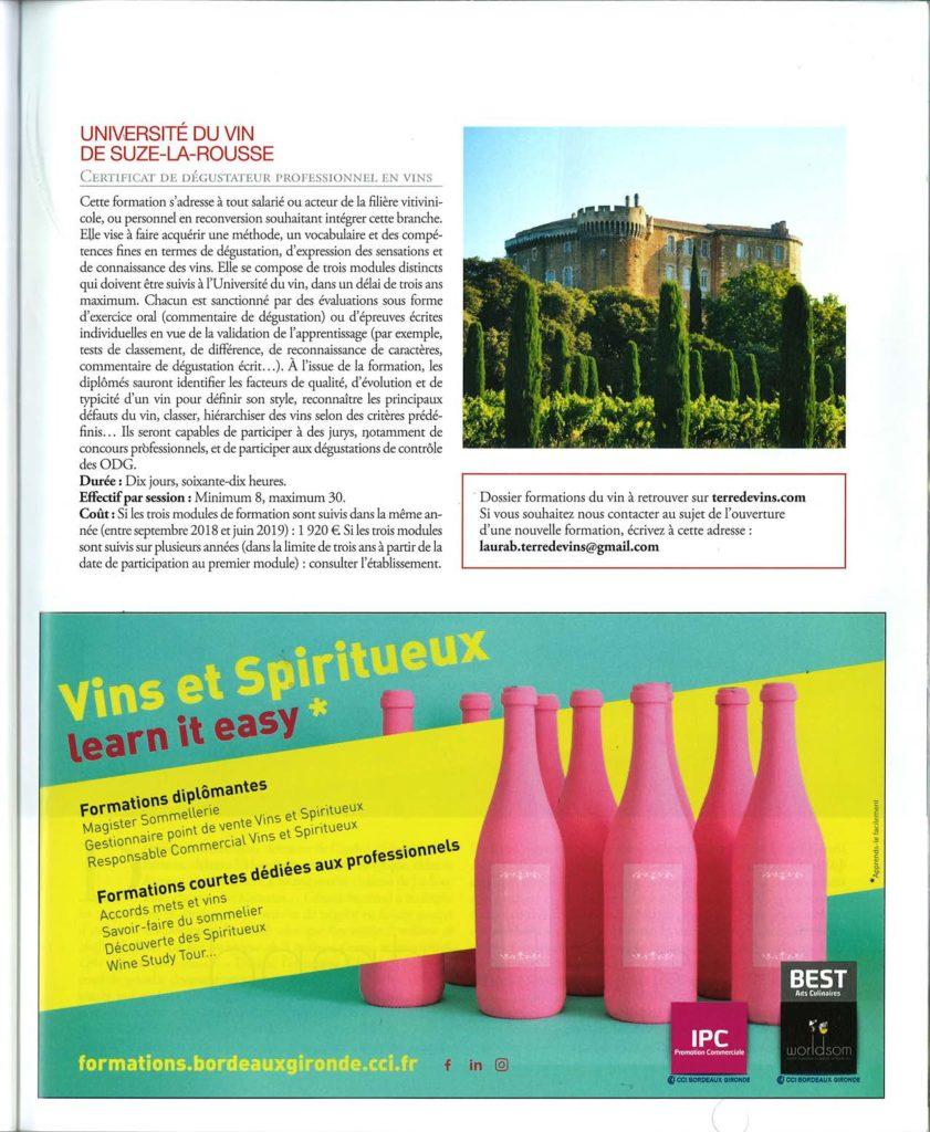 TERRE DE VINS janvier/février 2019 dossier FORMATIONS DU VIN: CERTIFICAT DE DEGUSTATEUR PROFESSIONEL à l'Université du vin